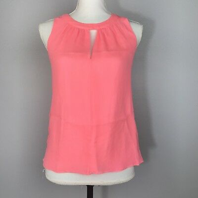 8eff2980d20939 J Crew Tank Top Womens Size 00 Sleeveless Halter Neck Keyhole Pink 100% Silk