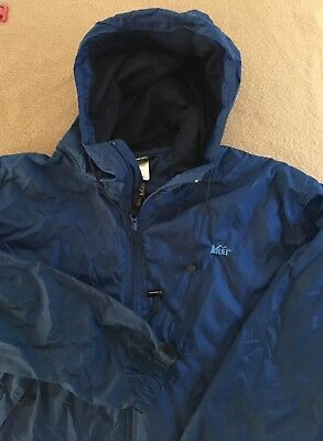 329c5e1e19097 Vtg REI Packable Full Zip Windbreaker Rain Jacket Coat Blue XL X-Large (P2