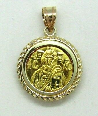 Christ first Byzantine coin icon Solid 22 Karat Gold Pendant 14K Rope Bezel