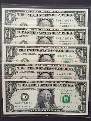 Wow 2013 STAR NOTE $1 Dollar Bills ( 5 Consecutive Cleveland),Uncirculated