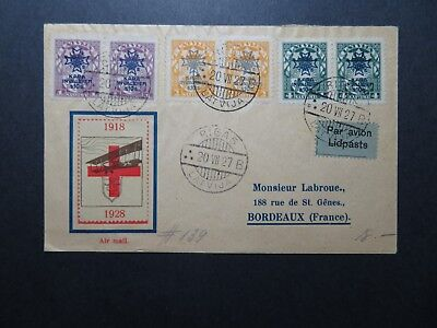 Latvia 1918 Red Cross Airmail Cover to France  - Z10462