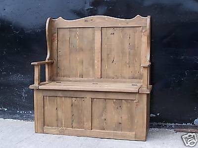 Rustic Old Solid Pine Monks Settle Bench Inc Arms & Storage We Can Make Any Size