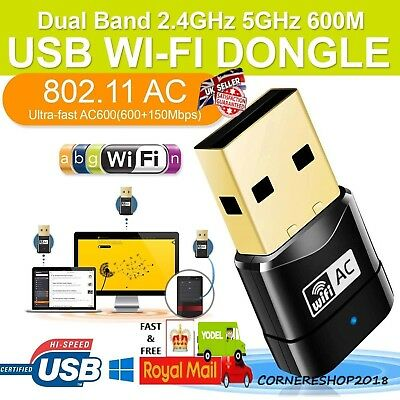 600Mbps USB Dual Band 802.11ac 2.4GHz 5GHz PC WiFi Adapter Network LAN Dongle