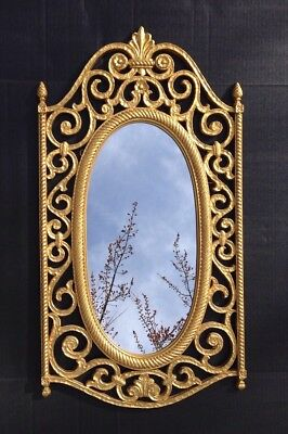 "Vintage Large Mid Century Ornate Oval Gold Decorative Wall Mirror 31"" X 16.75"""