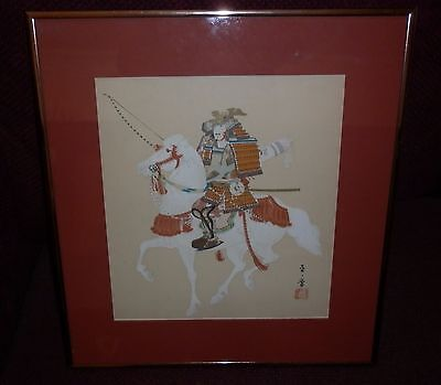 Vintage Framed Chinese Warrior Watercolour Excellent Condition Pick Up Only