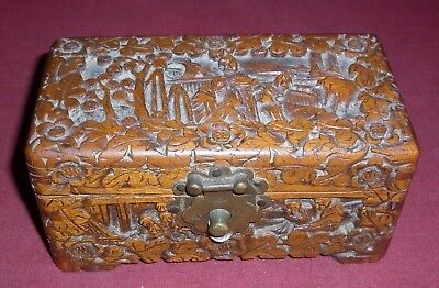 Small Vintage Chinese Hand Carved Timber Box Excellent Condition