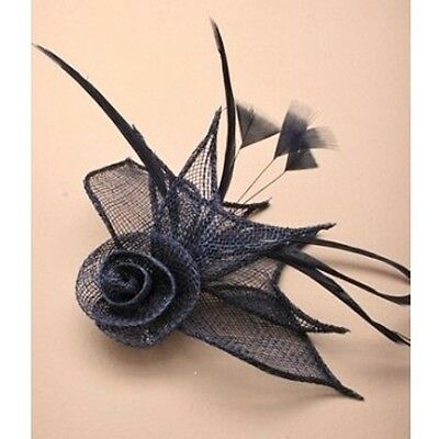 Ladies Navy Blue Sinamay Net Flower & Feather Fascinator on Spring Clip/ Pin