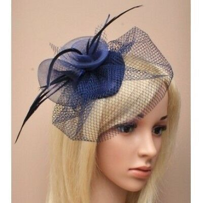 Ladies Navy Blue Gauze, Net & Feather Skull Cap Fascinator on Spring Clip/ Pin