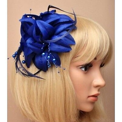 Navy Blue Layered  Fabric Flower, Feather & Bead Fascinator on Spring Clip/ Pin