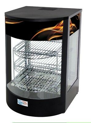 New Curved Glass Commercial Hot Food Pie Pizza Warmer Display Cabinet countertop