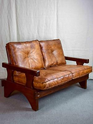 1960's Brazilian leather sofa set - two and three seat