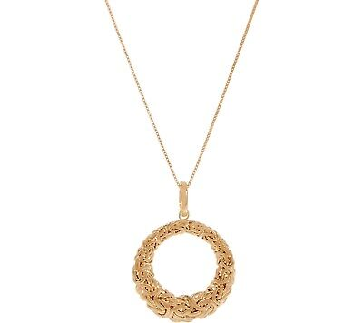 Circle Byzantine Enhancer Pendant w/ Chain Necklace 14K Yellow Gold Clad Silver