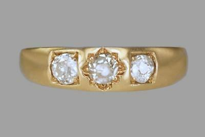 Victorian 18ct Gold 0.60ct Old Cut Diamond Gypsy Trilogy Ring Antique Dates 1896