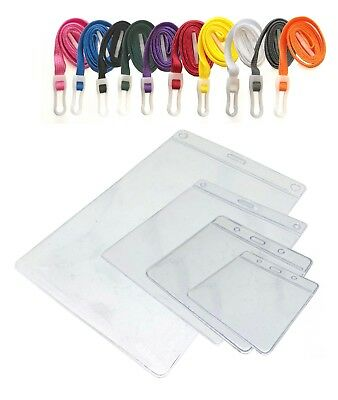 Plastic ID Badge Pocket Wallet and Neck Strap Lanyard PICK A COLOUR! Free P&P