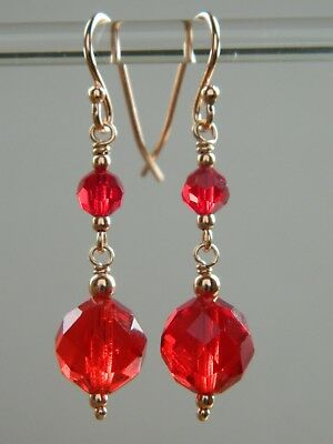 Vintage Art Deco Cherry Red Faceted Glass Crystal & Rose Gold Vermeil Earrings