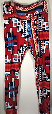 LuLaRoe leggings Red Blue Bright Colors Tall And Curvy Size 12-22 EUC