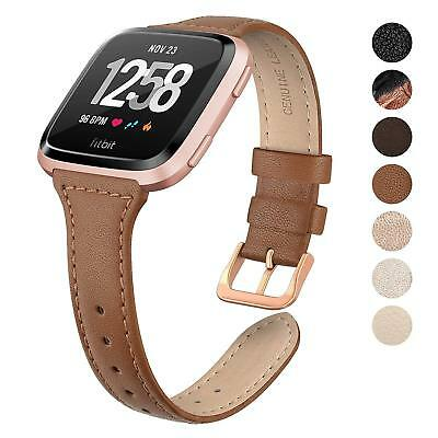 SWEES Leather Bands Compatible Fitbit Versa Genuine Leather Slim Thin Multicolor