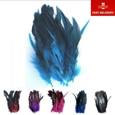 50 x Dip Dyed Rooster Feathers for Craft Costume Hat Milliner Floristry 12-20cm