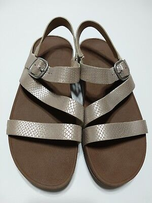 0ca105ba139ab6 Fitflop Womens The Skinny Z-Cross Leather Buckle Strap Sandals Wedges SZ 8  Shoes