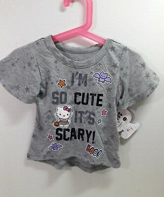 7a1db0b7 HELLO KITTY GIRLS Halloween T-Shirt I'm so cute it's Scary Size 12 ...