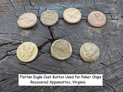 Old Rare Vintage Antique Civil War Relic Eagle Button Poker Chip Appomattox VA