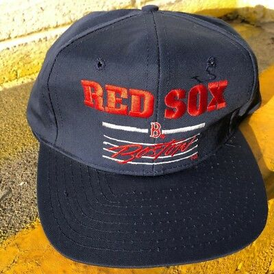 Vintage Boston Red Sox Signature Script SS Blue Snapback Hat MLB Rare 90s  Spash 1d1f796bb2cd