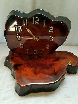 Vintage Tree Slab Wood Desk Clock Wooden Lacquer Custom Handcrafted