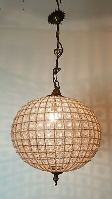 Vintage Glass Beaded Ball Chandelier; Rewired and Restored.