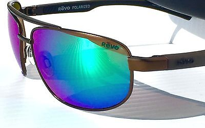 7aadd4276a NEW! REVO WRAITH Aviator Brown POLARIZED Shallow Green Water Sunglass 1018  02 GN