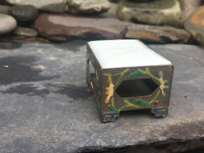 ANTIQUE/EARLY 20THc VINTAGE CHINESE ENAMEL& HARDSTONE MATCHBOX COVER- DAMAGED