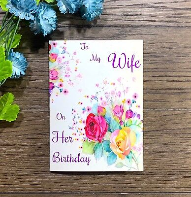 For My Wife On Her Birthday Flower Happy Birthday Handmade Greeting Card