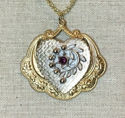 Steampunk Necklace- Vintage Style, Up Cycled Heart w/ Purple Crystal