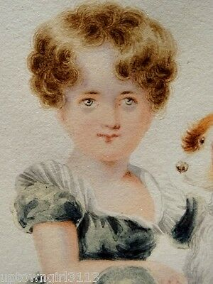 antique MINIATURE painting WARMAN rare 1800s FINE ART Girl w/ DOG signed British