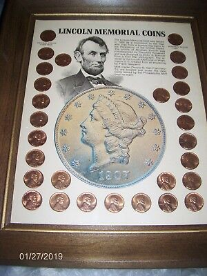 Framed LINCOLN MEMORIAL COINS SET 1959 - 1968 + 1 Wheat ~ 29 Pennies  #1907