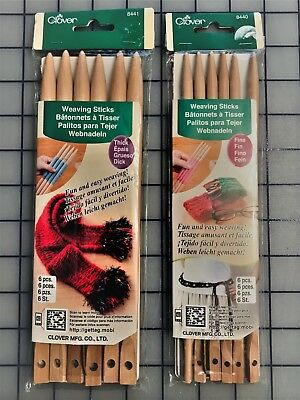 CLOVER WEAVING STICKS 2 Pack # 8440 Fine & 8441 Thick - 6 Stiicks each