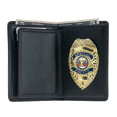 Police Leather Badge Wallet- Universal Fit -Pin Back Badge- Black
