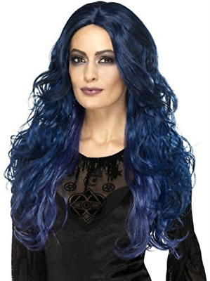 Occult Witch Siren Wig, Blue & Black, Long & Wavy, Two Tone NEW