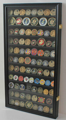LOCKABLE Large 108 Challenge Coin Display Case Cabinet Pin Medal, Glass Door