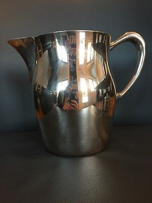 "Vintage Sheridan Silver on Copper Water Pitcher With Ice Lip 7"" Tall"