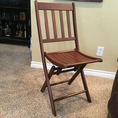 Antique Wooden Folding Chair - Great Accent Piece - Rich Color