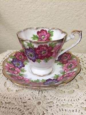 Beautiful Royal Standard Carmen Pansies Tea Cup and Saucer England