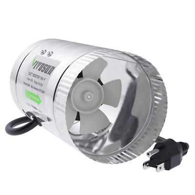 VIVOSUN 4 inch Inline Duct Booster Fan 100 CFM, Extreme Low Noise & Extra Long 5