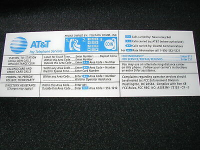 Brand New At&T Pay Phone Payphone Top Instruction Card & Clear Number Protector