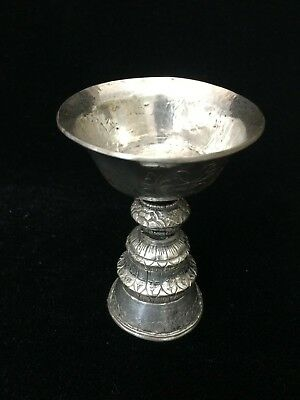"""Old Chinese Tibetan Tibet Buddha Sterling Silver Yak Butter Lamp Cup, 3 5/8"""" T"""