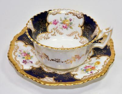 COALPORT Bone China England Cobalt Blue Floral Gold Set Cup & Saucer #Y2480