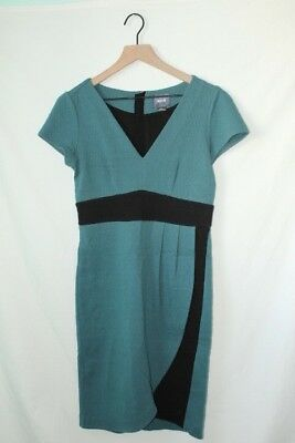 f2597ae6de40 ANTHROPOLOGIE Maeve Teal and Black Wrap Short Sleeve Dress Size Small