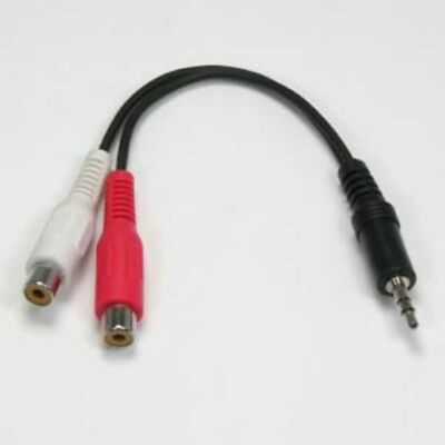 Male to 2 RCA Female Jack Plug AV Audio Headphone Stereo AUX Cable Cord 3.5mm