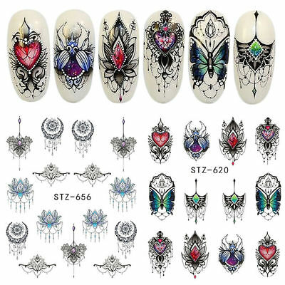 40 Sheets Nail Art Water Decals Stickers Transfers Flower Feather Necklace Shape