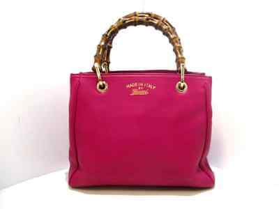 0b9d1dc4dfd5 AUTH GUCCI BAMBOO Shopper Leather Tote 336032 Pink Bag - $743.00 ...