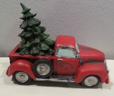 Old Red Truck With Christmas Tree In Back.Red Old Style Truck Christmas Tree In Back Winter Home Decor Display Ceramic New
